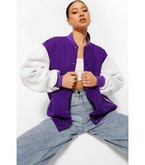 oversized contrasterende colour block varsity jas, purple