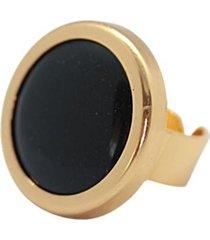 anillo piedra baño en oro negro bijulovers