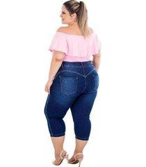 calça jeans latitude plus size cropped joanine feminina