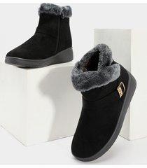 botas de nieve de terciopelo negras
