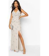 bridesmaid hand embellished cowl detail maxi dress, grey