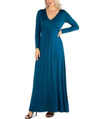 24seven comfort apparel women's semi formal long sleeve maxi dress