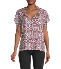 max studio women's flora-print v-neck top - ivory red - size xs