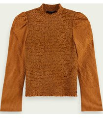 scotch & soda gesmokte top met hoge hals