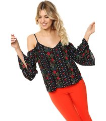 blusa negra donadonna off-shoulder