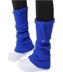 polaina 4 estações meia compressão lã quente conforto lisa esporte com botão azul royal