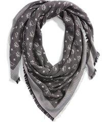 women's mcm monogram scarf, size one size - grey