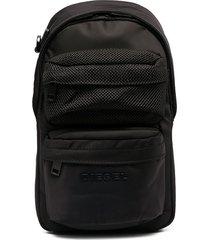 diesel logo embroidered backpack - black