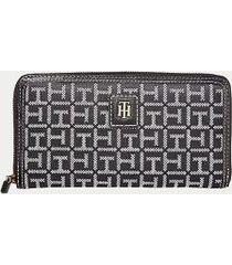 tommy hilfiger women's monogram zip wallet black/white -