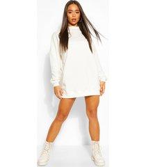 high neck oversized sweatshirt dress, white