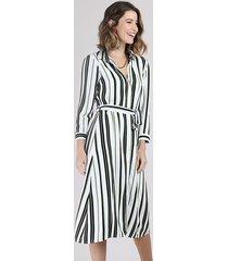 vestido chemise feminino midi listrado com faixa para amarrar manga 7/8 branco