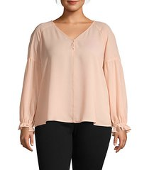plus solid v-neck top