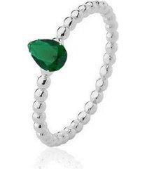 anel gota zircônia esmeralda ródio lys lazuli feminino - feminino
