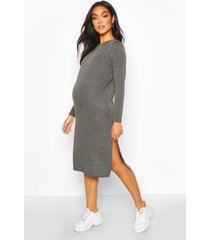 maternity side split long sleeve shift dress, charcoal
