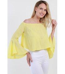 blusa hombro con elastico bambula amarillo night concept