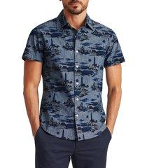 men's bonobos rivie slim fit stretch short sleeve button-up shirt, size x-large - blue