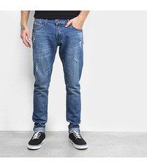 calça jeans fatal skinny destroyed masculina
