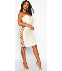 zip front strapless bandage dress, champagne