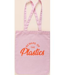 women's beware of the plastics tote in pink by francesca's - size: one size