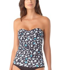 anne cole printed twist-front strapless tankini top women's swimsuit