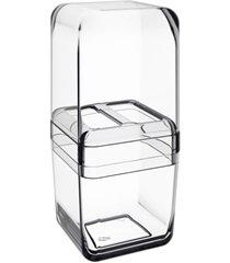 porta escova com tampa cube 19,5x8,5cm cristal
