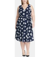 tommy hilfiger plus size belted floral fit & flare dress
