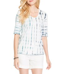women's nic+zoe shibori rain t-shirt, size small - blue/green