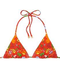 women's tory burch print triangle bikini top, size small - red