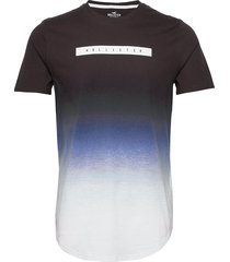 ombre box print logo t-shirts short-sleeved hollister