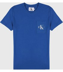 camiseta azul royal-blanco calvin klein