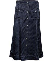 heavy satin skirt knälång kjol blå ganni