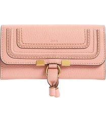 women's chloe marcie leather flap wallet - pink