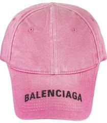 pink denim woman baseball cap with logo