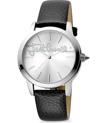 stainless steel, crystal & leather-strap watch