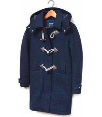 chaqueta de lana con capota color siete para mujer - azul
