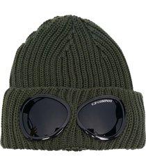 c.p. company army green wool beanie