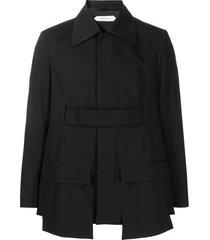 namacheko belted pointed-collar blazer - black