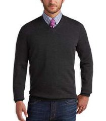 joseph abboud charcoal v-neck merino wool sweater