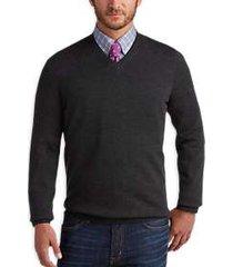 joseph abboud charcoal v-neck merino wool sweater