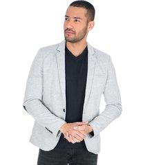 blazer clasico gris claro con solapa bolsillos frontales y parches en codo para hombre