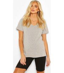 zwangerschap baggy t-shirt met v-hals, grijs gemêleerd