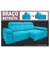 sofá glamour 2,50m assento com braço retrátil e reclinável velosuede turquesa - netsofas