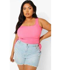 plus geribbeld geplooid hemdje, bright pink
