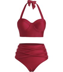 halter crisscross high waisted bustier tankini swimwear