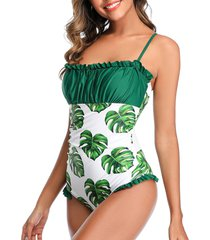 floral leaves print ruffles one-piece swimsuit