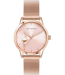 women's ted baker london fitzrovia flamingo mesh strap watch, 34mm