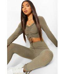 tall geplooide crop top met lange mouwen en legging set, khaki