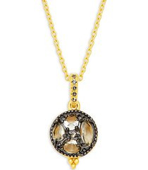 goldtone, black & cubic zirconia round drop necklace