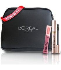 kit de pestañina  l'oréal paris lash paradise lavable+labial les macarrons dose of rose+obsequio cosmetiquera