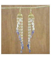 gold plated multi-gemstone waterfall earrings, 'happy rain' (thailand)